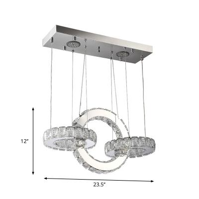 Crystal Rings LED Chandelier Modern Chrome Finish Hanging Pendant Light for Kitchen