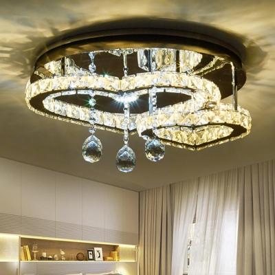 Loving Heart Semi Flush Light Modernism Faceted Crystal LED Bedroom Ceiling Fixture in Chrome