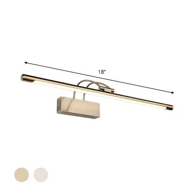 Metallic Tube Wall Lighting Ideas Modernism LED Brass/Nickel Vanity Wall Lamp with Swing Arm in Warm/White Light