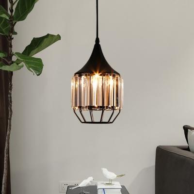 Minimalism Geometric Frame Pendant Lamp Clear Crystal 1 Bulb Study Room Hanging Ceiling Light in Black