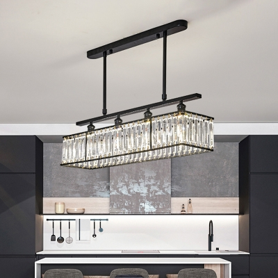 Minimalist Rectangle Island Lighting Clear Crystal 4 Heads Dining Room Pendant Lamp in Champagne/Black