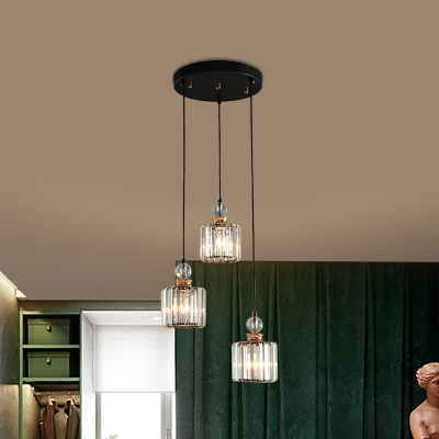 Modernity Cylinder Cluster Pendant Clear Crystal 1/3-Bulb Dining Room Hanging Light Fixture in Black