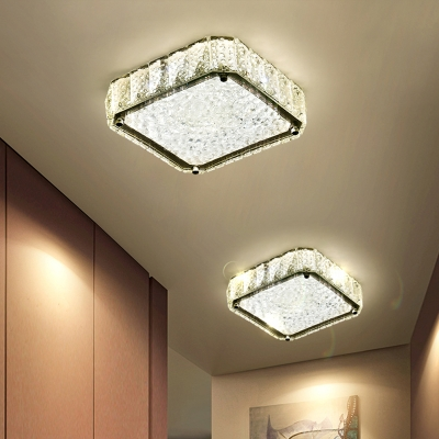 Simple LED Flush Mount Lighting Stainless-Steel Round/Square/Flower Ceiling Lamp with Clear Crystal Shade in Warm/White Light