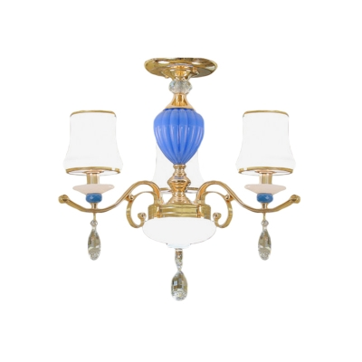 Tapered Frosted Glass Ceiling Fixture Modernism 3/6/8 Lights Gold Semi Mount Light with Crystal Droplet