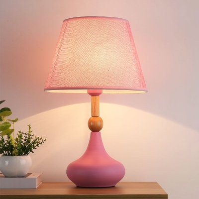 Tapered Nightstand Lighting Cartoon Fabric 1 Head Grey/Pink/Blue Night Lamp with Urn Base for Bedside
