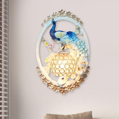 Beautifulhalo coupon: 1 Bulb Crystal Wall Lamp Modernist Light Blue-White Domed Indoor Sconce with Peacock Backplate