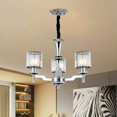 3-Head Dining Room Chandelier Modern Chrome Suspension Light with Cylinder Clear Crystal Shade