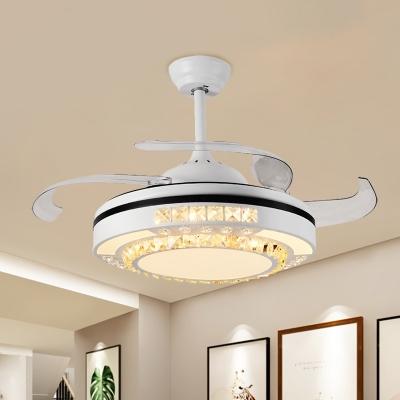 Circle Beveled Crystal Fan Lighting Modern 19