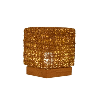 Cube Rattan Woven LED Table Light Macaron Blue/Flaxen/Beige Rechargeable USB Night Lamp with Wood Base