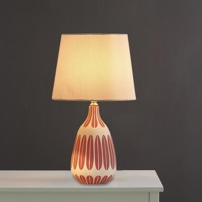 Jar Night Light Contemporary Ceramic 1 Light Bedside Table Lighting in Pink/Green/Purple with Barrel Fabric Shade