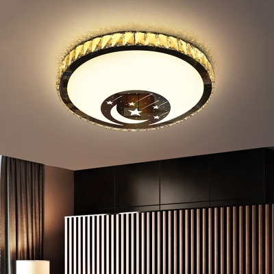 Minimalist Round Flush Light Fixture Clear Crystal LED Bedroom Ceiling Lamp in Chrome with Moon and Star Pattern