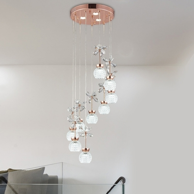 Modern Sphere Multi Ceiling Light Crystal 9 Lights Pendant Lamp in Gold with Spiral Design, Warm/White Light