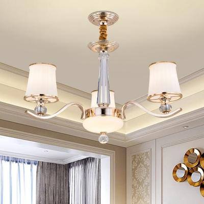 Modern Tapered Pendant Light Fixture Opaline Glass 3 Lights Bedroom Chandelier in Gold