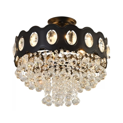 Simplicity Cascading Semi Mount Lighting Clear Crystal 1/3/5-Bulb Porch Close to Ceiling Light in Black