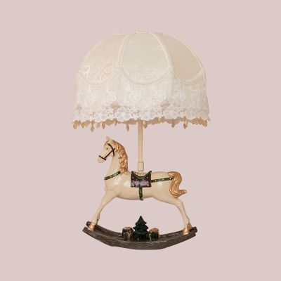 Cone/Dome Girl's Bedside Night Lamp Fabric Single Kids Table Lighting in White with Resin Horse Teeter Base