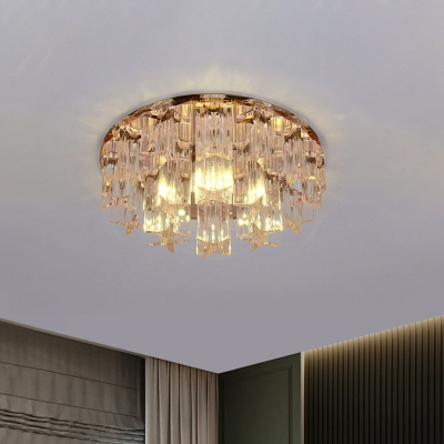 Crystal Block Circle Flush Mount Fixture Modern Rose Gold LED Close to Ceiling Lighting in Warm/White Light