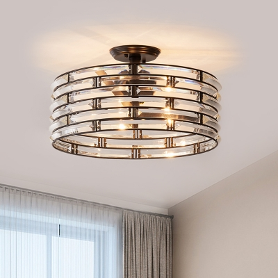 Crystal Cylinder Semi Flush Mount Lighting Simplicity 5 Lights Close to Ceiling Light in Black/Gold