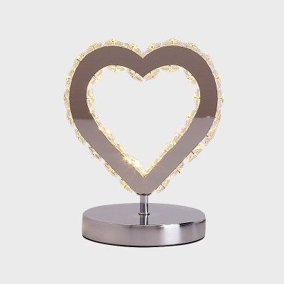 Loving Heart Faceted Crystal Table Lamp Contemporary LED Chrome Nightstand Lighting for Bedside
