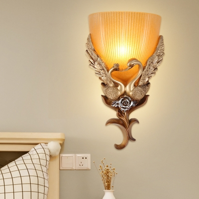Ribbed Glass Gold Wall Lighting Fixture Bowl 1 Light Traditional Wall Light Sconce with Resin Goose Deco