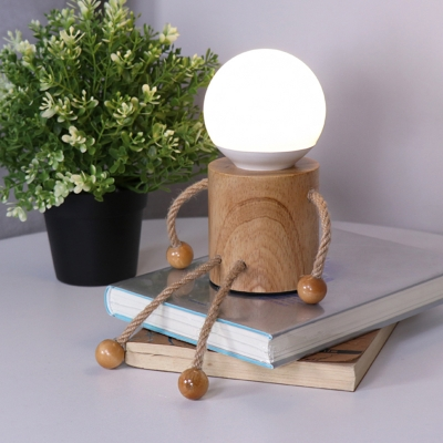 Robot-Like Wooden Table Lighting Nordic Style 1 Light Wood Night Lamp for Bedside
