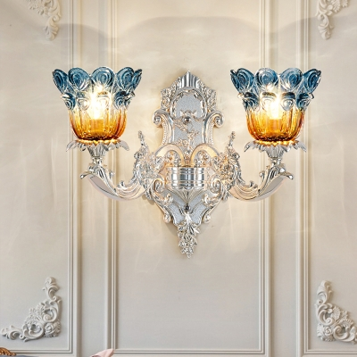 Silver 2-Bulb Wall Mount Lighting Country Metallic Swirled Arm Wall Light Sconce with Peacock Tail Blue and Amber Glass Shade