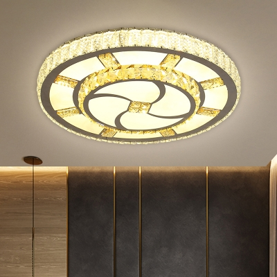 Faceted Crystal Circular Flush Lamp Minimalism Stainless-Steel LED Ceiling Mount Light Fixture