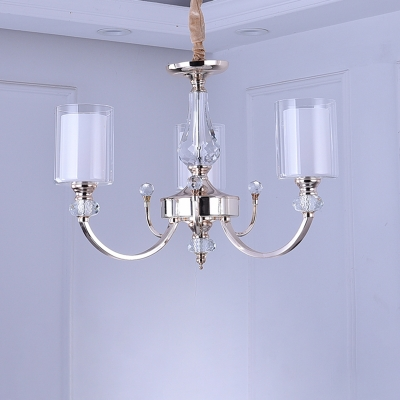 Gold Swooping Arm Chandelier Light Modern 3-Bulb Metal Hanging Lamp with Cylinder Clear Glass Shade