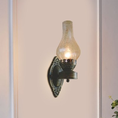 1-Bulb Kerosene Wall Light Fixture Industrial Yellow/Clear/Frosted Glass Wall Sconce Lighting for Living Room