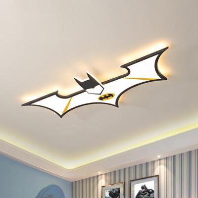 Bat Flushmount Lighting Cartoon Acrylic LED Kids Room Ceiling Mounted Fixture in Black/Blue