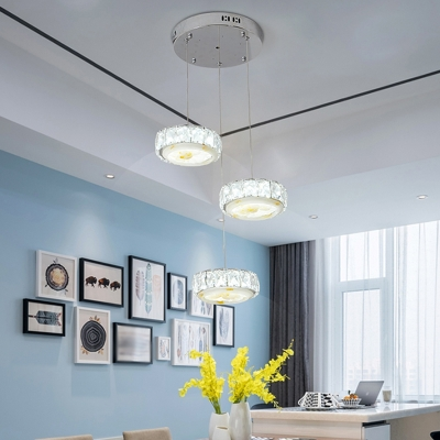Crystal Circle Multi-Light Pendant Simple LED Suspension Light Fixture in Chrome with Floral Pattern, Warm/White Light