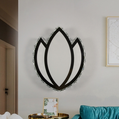 LED Bedroom Wall Sconce Lighting Modern White Crystal Wall Lamp with Flower Acrylic Shade in Warm Light