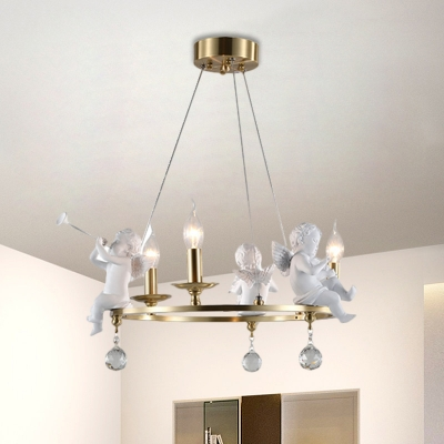 Simplicity Candelabra Chandelier Light Metal 3-Light Dining Room Pendant Lamp in Gold with Angel Playing Trumpet Deco