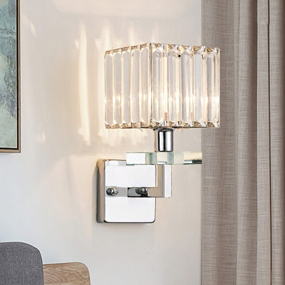 Single-Bulb Living Room Wall Lamp Simple Chrome Wall Mount Light with Cube Crystal Shade