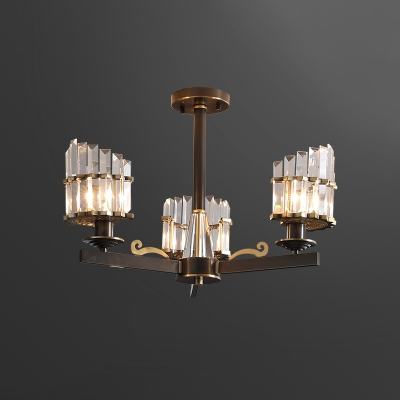 Angled Drum Crystal Ceiling Lamp Contemporary 3 Heads Black Semi Flush Chandelier for Dining Room