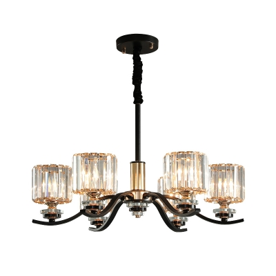 Modern 6 Lights Up Chandelier Black Cylindrical Hanging Ceiling Light with Crystal Shade