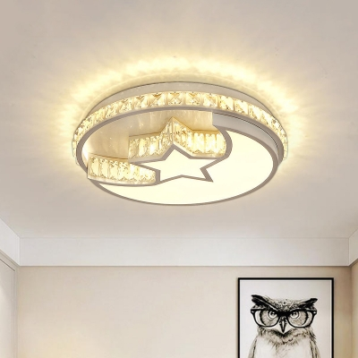 Modern Moon and Star Flush Mount Light Crystal LED Bedroom Close to Ceiling Lamp in White