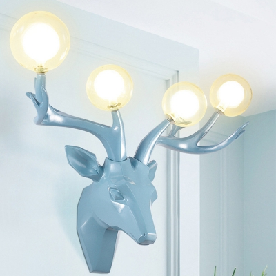 Resin Black/Blue/Gold Wall Light Deer Head 4-Light Country Style Wall Sconce with Orb Clear Glass Shade