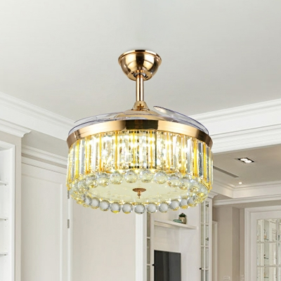 Simplicity Round Fan Lamp Beveled Crystal Living Room LED Semi Flush Ceiling Light in Gold with 3 Blades, 19