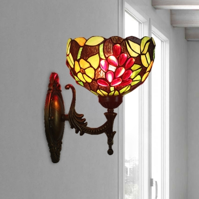 Stained Glass Brass Wall Lighting Bowl Shade 1 Bulb Tiffany Wall Sconce Light with Grape Pattern