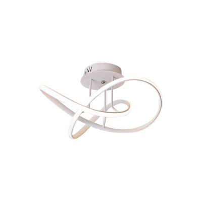 Swirl Wave Semi Flush Light Fixture Modern Metal LED Bedroom Ceiling Lighting in Black/White/Coffee