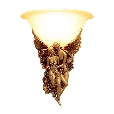 1-Head Wall Mounted Lamp Countryside Bell White Glass Wall Lighting with Angel Decor in Gold