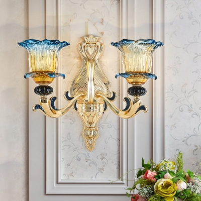 2-Light Metal Sconce Light Rustic Light Gold Swooping Arm Living Room Wall Lamp with Flower Textured Glass Shade