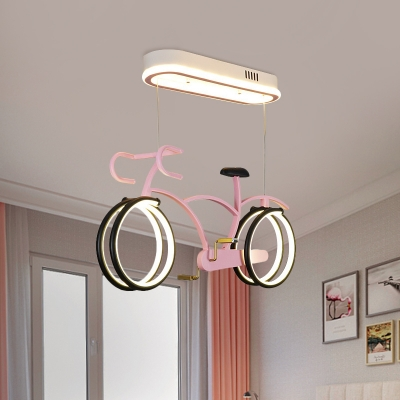 Bicycle Hanging Chandelier Kids Style Metallic LED Silver/Pink/Blue Ceiling Pendant for Children Bedroom