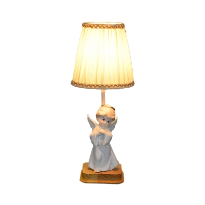 Cartoon Pleated Cone Nightstand Light Fabric 1 Light Bedroom Table Lamp with Ceramic Angel Base