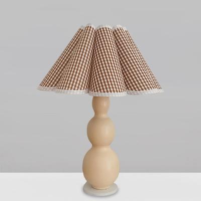 Fabric Scalloped Night Lighting Modern 1 Head Coffee/Beige Table Lamp with Globe Ceramic Base
