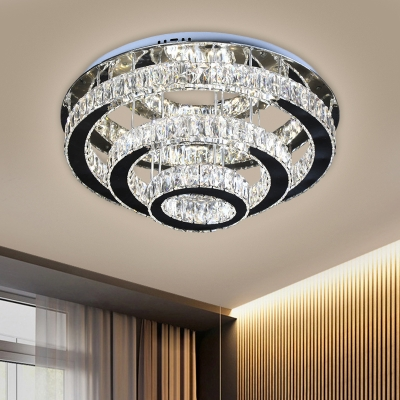 Minimalism LED Ceiling Fixture Black 3-Tier Round Semi Flush Mount with Clear Beveled Crystal Shade