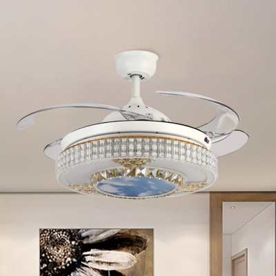 Modernity Circle Hanging Fan Lamp Crystal 4-Blade LED Bedroom Semi Flush Ceiling Fixture in White, 19
