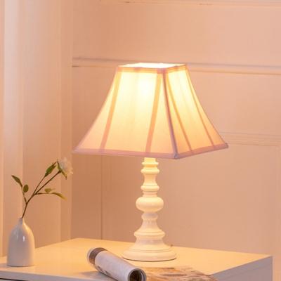 Pagoda Table Lighting Minimalist Fabric 1 Bulb Pink Finish Nightstand Lamp with Font Base