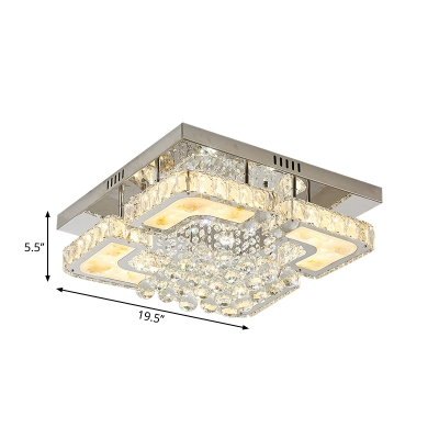 Simple LED Ceiling Lamp Chrome Flush Mount Lighting with Beveled Crystal Shade for Living Room