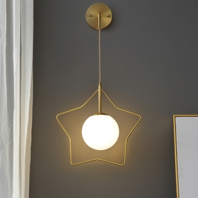 Single Head Gold Global Wall Light Simplicity Opal Glass Wall Mount Lamp with Metal Star Frame